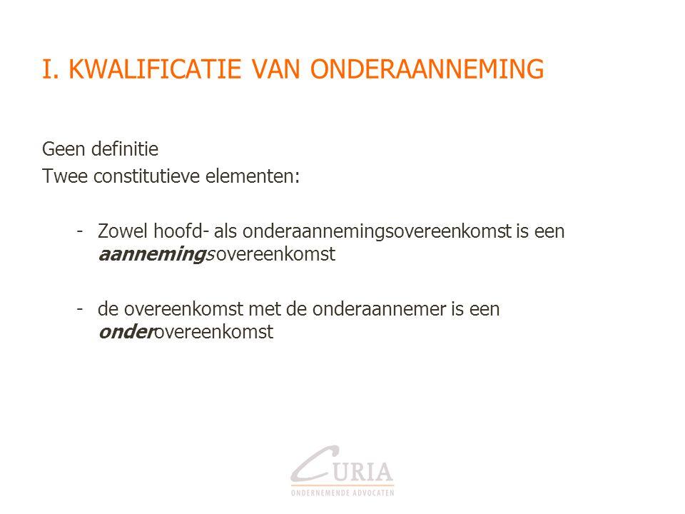 1) (Onder)aanneming – afbakening •Aanneming – koop •Aanneming - huur van materiaal •Onderaanneming - terbeschikkingstelling van werknemers •Onderaanneming - arbeidsovereenkomst
