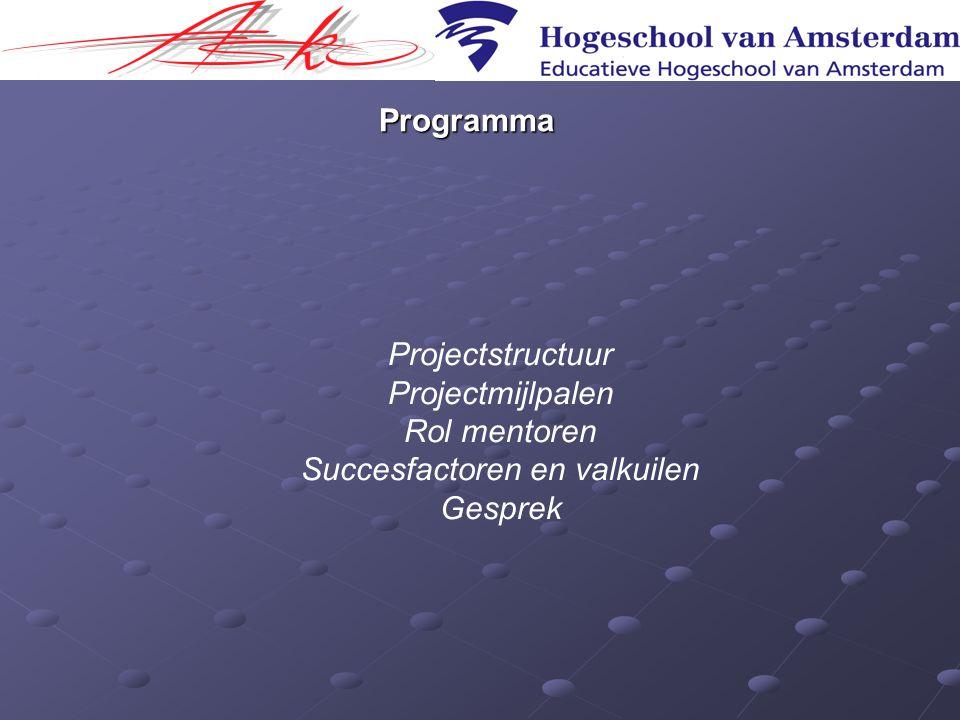 Programma Projectstructuur Projectmijlpalen Rol mentoren Succesfactoren en valkuilen Gesprek