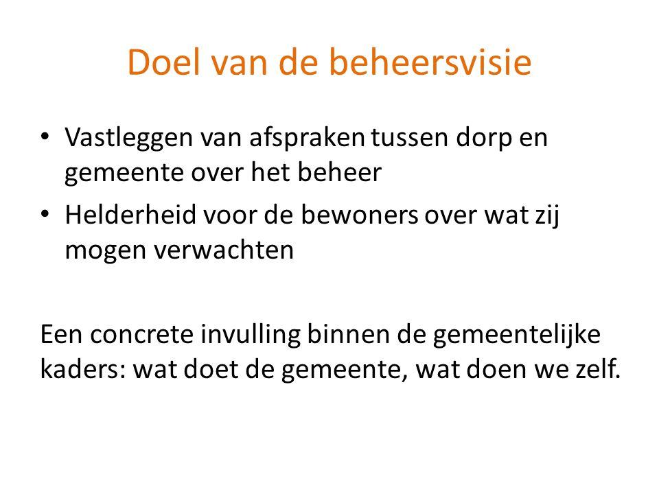 Relatie met dorpsvisie • Beheervisie is een uitwerking van de dorpsvisie • Dorpsvisie geeft input: concrete onderwerpen m.b.t.
