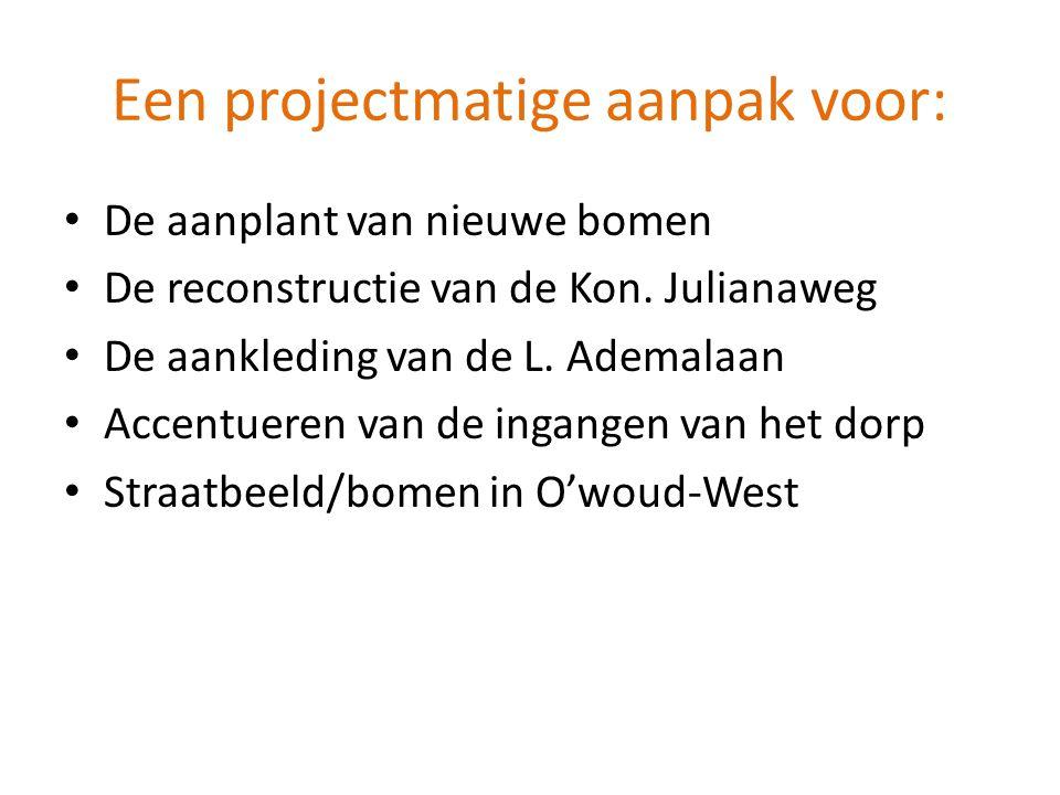 Een projectmatige aanpak voor: • De aanplant van nieuwe bomen • De reconstructie van de Kon. Julianaweg • De aankleding van de L. Ademalaan • Accentue