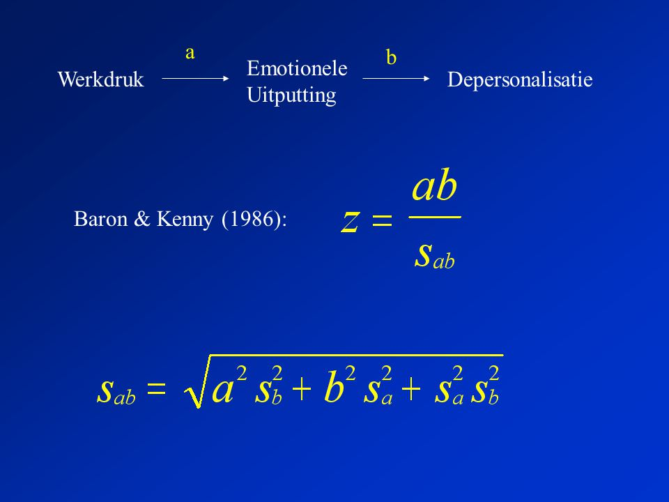 Werkdruk Emotionele Uitputting Depersonalisatie a b Baron & Kenny (1986):