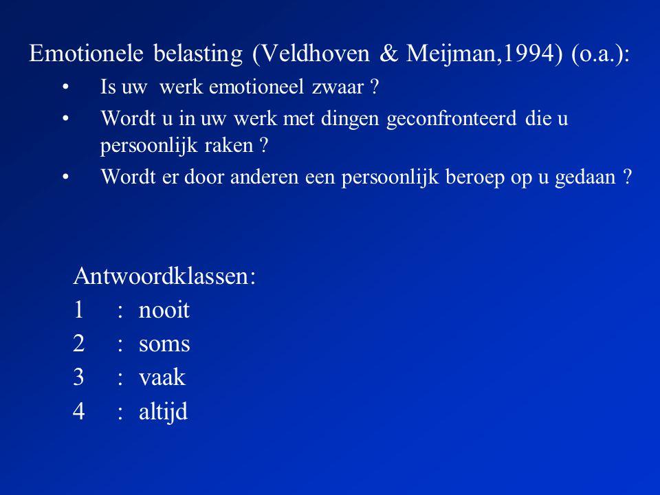 Emotionele belasting (Veldhoven & Meijman,1994) (o.a.): •Is uw werk emotioneel zwaar .
