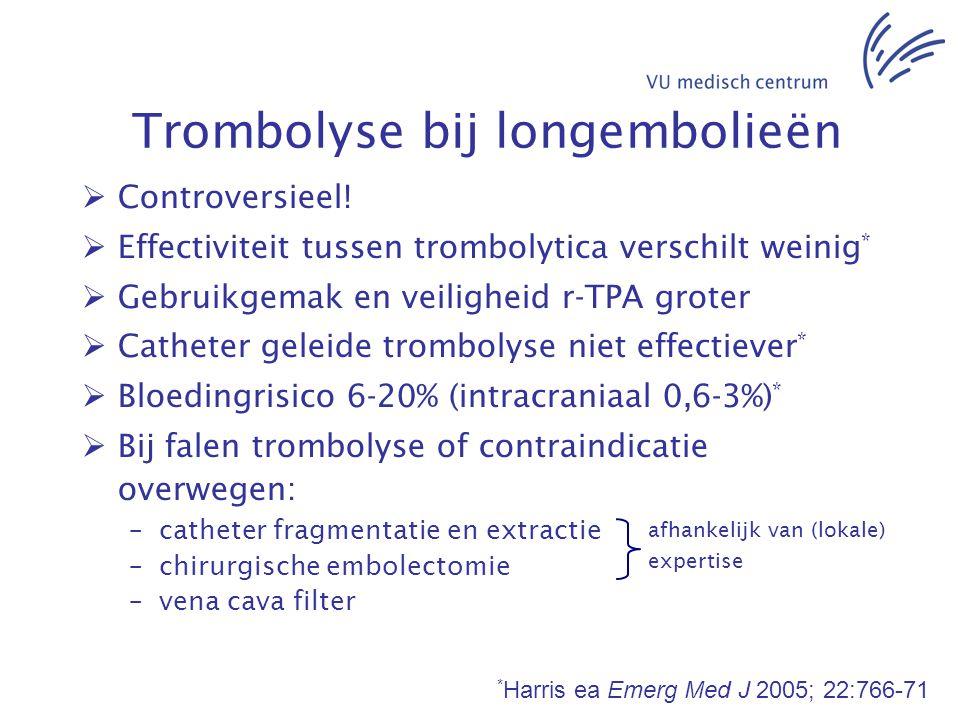 Trombolyse bij longembolieën  Controversieel!  Effectiviteit tussen trombolytica verschilt weinig *  Gebruikgemak en veiligheid r-TPA groter  Cath