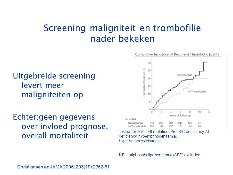 Screening maligniteit en trombofilie nader bekeken Uitgebreide screening levert meer maligniteiten op Echter:geen gegevens over invloed prognose, over