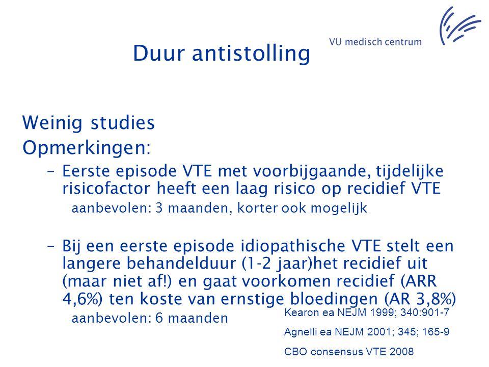 Duur antistolling Weinig studies Opmerkingen: –Eerste episode VTE met voorbijgaande, tijdelijke risicofactor heeft een laag risico op recidief VTE aan