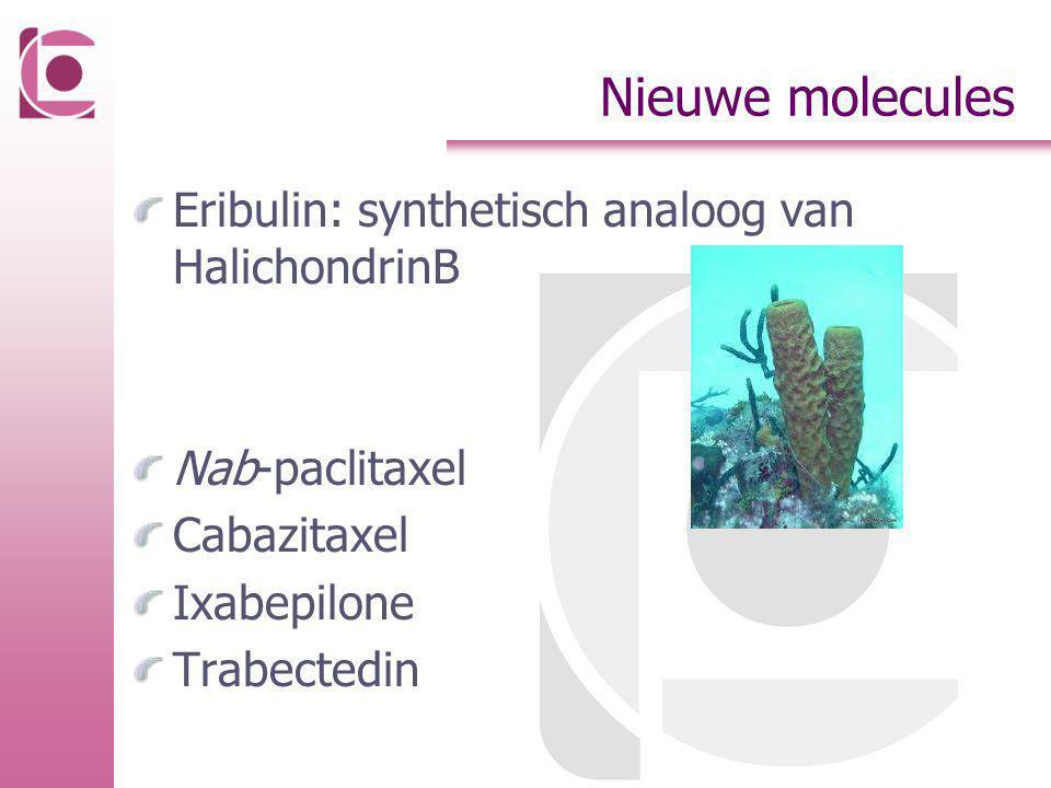 Nieuwe molecules Eribulin: synthetisch analoog van HalichondrinB Nab-paclitaxel Cabazitaxel Ixabepilone Trabectedin