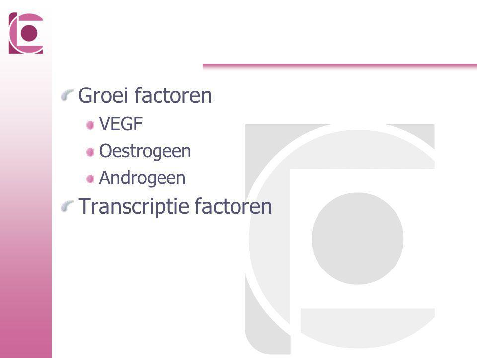 Groei factoren VEGF Oestrogeen Androgeen Transcriptie factoren