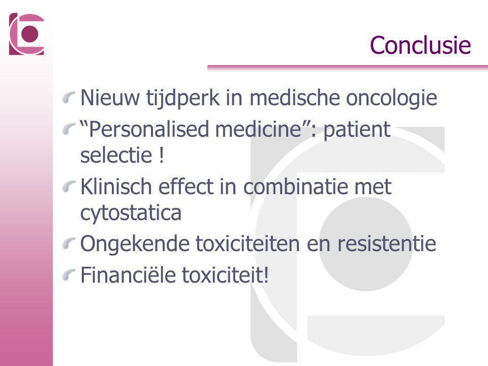 """Conclusie Nieuw tijdperk in medische oncologie """"Personalised medicine"""": patient selectie ! Klinisch effect in combinatie met cytostatica Ongekende tox"""