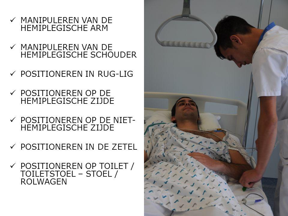  MANIPULEREN VAN DE HEMIPLEGISCHE ARM  MANIPULEREN VAN DE HEMIPLEGISCHE SCHOUDER  POSITIONEREN IN RUG-LIG  POSITIONEREN OP DE HEMIPLEGISCHE ZIJDE