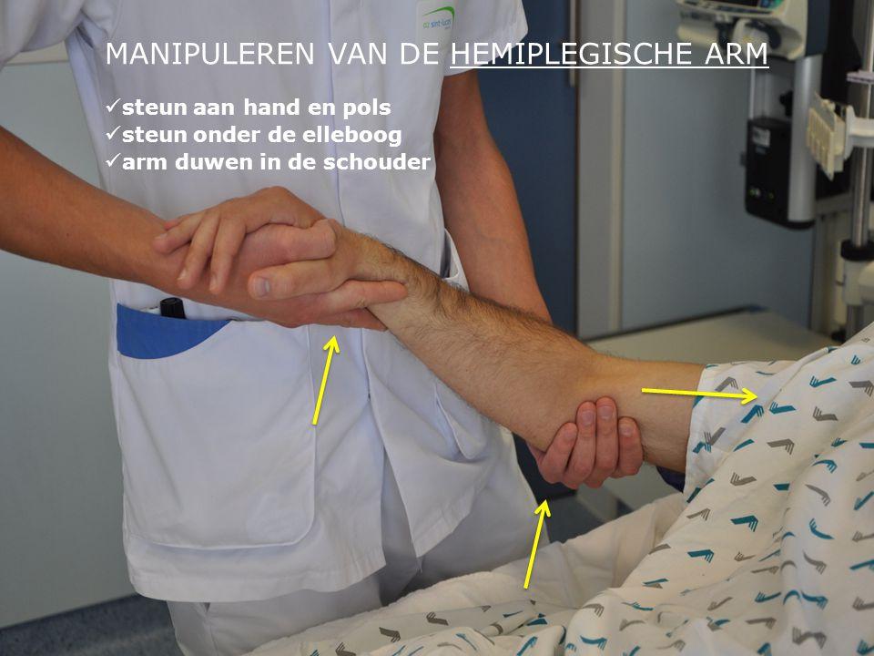MANIPULEREN VAN DE HEMIPLEGISCHE ARM  steun aan hand en pols  steun onder de elleboog  arm duwen in de schouder