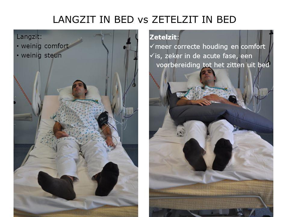 LANGZIT IN BED vs ZETELZIT IN BED Langzit: • weinig comfort • weinig steun Zetelzit:  meer correcte houding en comfort  is, zeker in de acute fase,