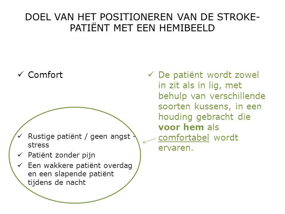 DOEL VAN HET POSITIONEREN VAN DE STROKE- PATIËNT MET EEN HEMIBEELD  Comfort  Rustige patiënt / geen angst - stress  Patiënt zonder pijn  Een wakke