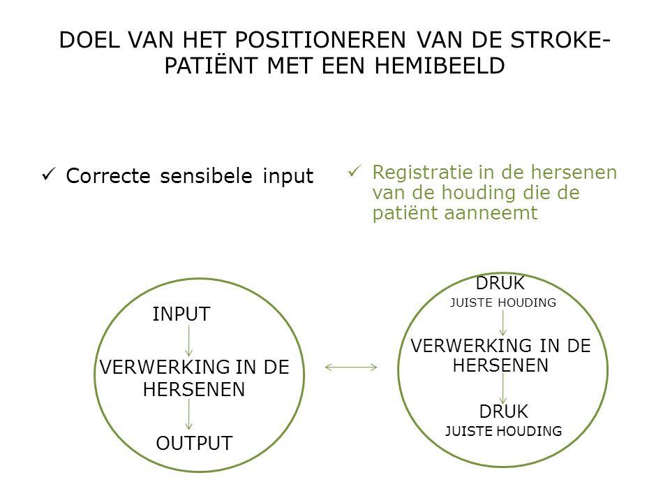 DOEL VAN HET POSITIONEREN VAN DE STROKE- PATIËNT MET EEN HEMIBEELD  Correcte sensibele input INPUT VERWERKING IN DE HERSENEN OUTPUT  Registratie in
