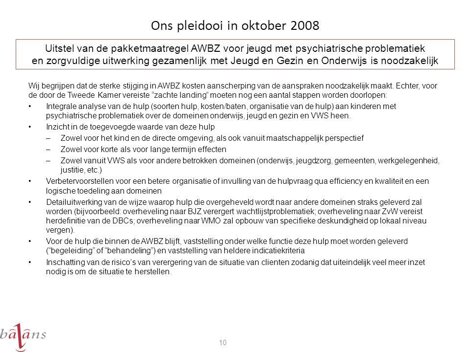Ons pleidooi in oktober 2008 Wij begrijpen dat de sterke stijging in AWBZ kosten aanscherping van de aanspraken noodzakelijk maakt.