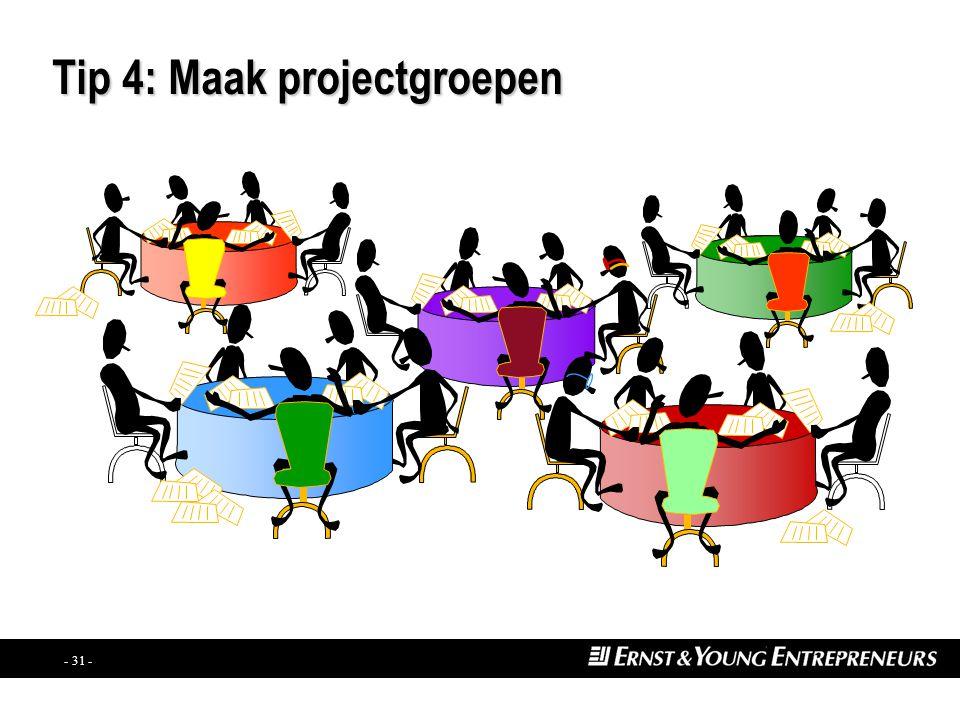 - 30 - Tip 3: Betrek heel uw onderneming PER0260 Creëer een nieuwe manier waarop iedereen samenwerkt BREEK DE MUREN AF