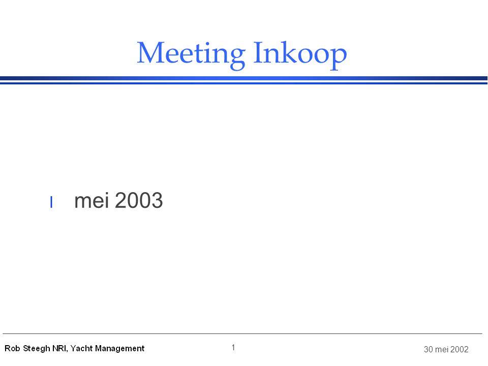 30 mei 2002 1 Meeting Inkoop l mei 2003