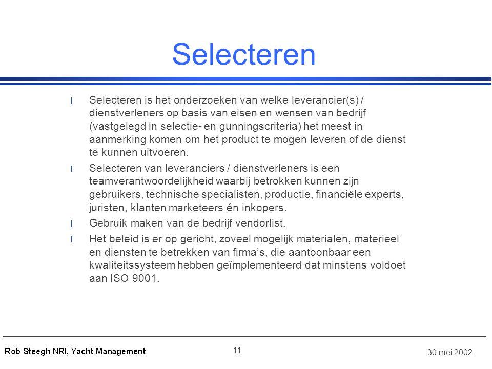 30 mei 2002 11 Selecteren l Selecteren is het onderzoeken van welke leverancier(s) / dienstverleners op basis van eisen en wensen van bedrijf (vastgel