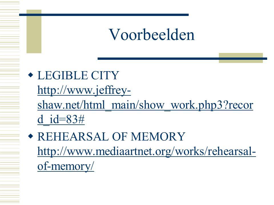 Voorbeelden  LEGIBLE CITY http://www.jeffrey- shaw.net/html_main/show_work.php3?recor d_id=83# http://www.jeffrey- shaw.net/html_main/show_work.php3?
