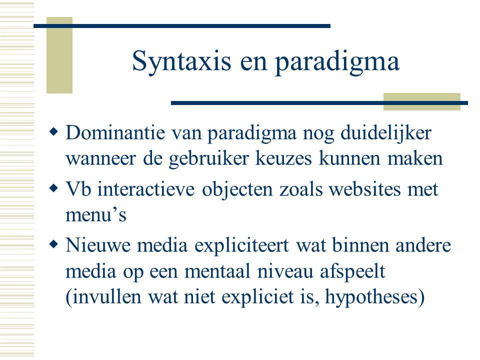 Syntaxis en paradigma  Dominantie van paradigma nog duidelijker wanneer de gebruiker keuzes kunnen maken  Vb interactieve objecten zoals websites me