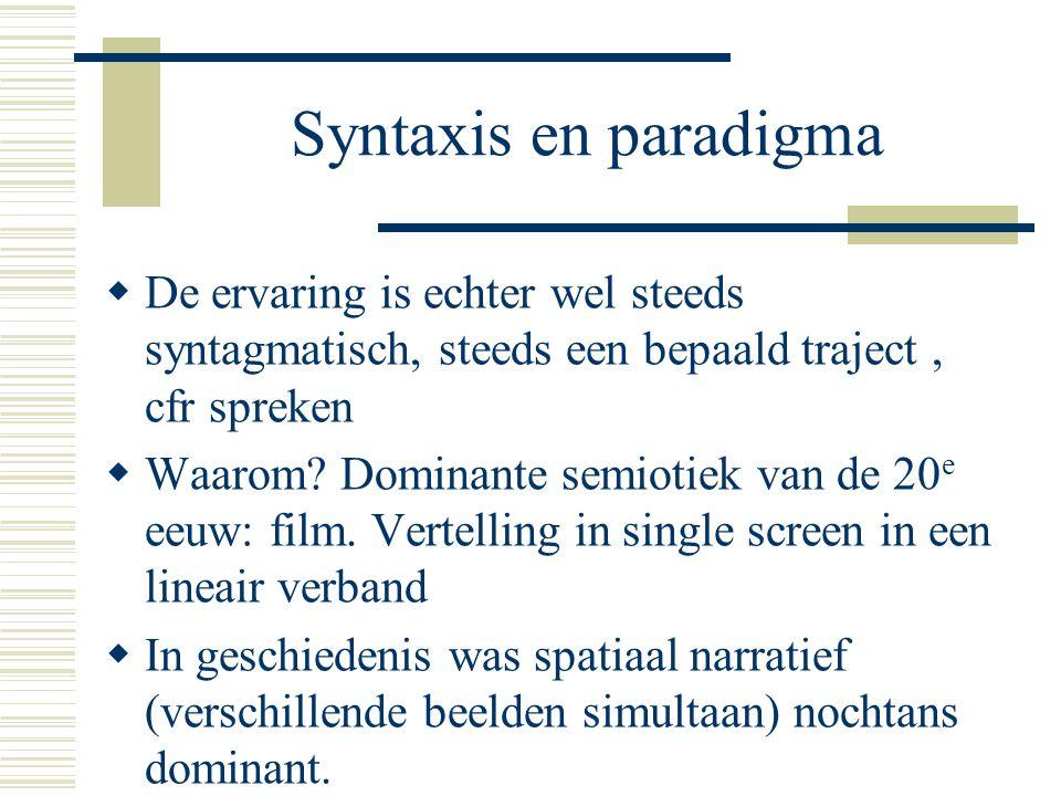 Syntaxis en paradigma  De ervaring is echter wel steeds syntagmatisch, steeds een bepaald traject, cfr spreken  Waarom? Dominante semiotiek van de 2