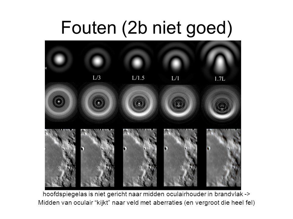 Fouten (2b niet goed) hoofdspiegelas is niet gericht naar midden oculairhouder in brandvlak -> Midden van oculair kijkt naar veld met aberraties (en vergroot die heel fel)