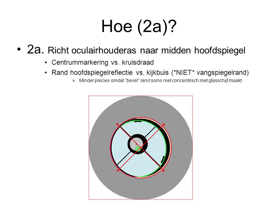 Hoe (2a).•2a. Richt oculairhouderas naar midden hoofdspiegel •Centrummarkering vs.
