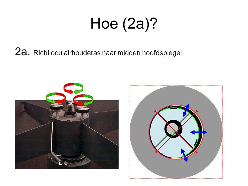 Hoe (2a)? 2a. Richt oculairhouderas naar midden hoofdspiegel
