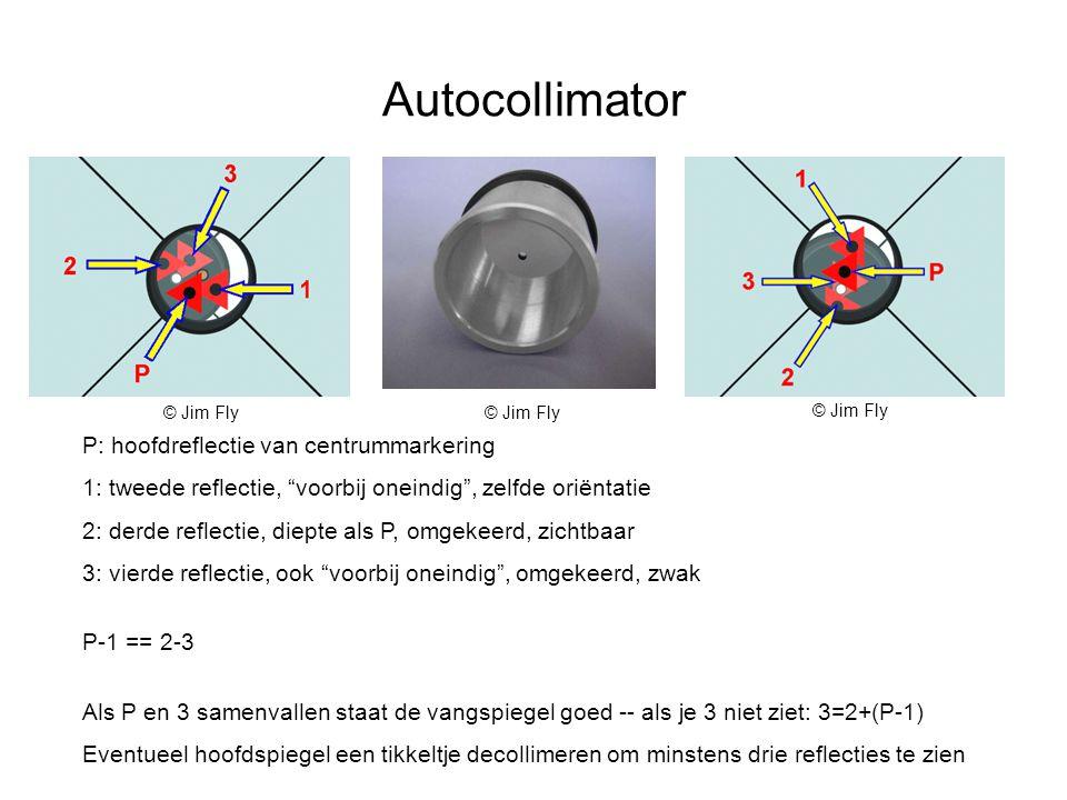 Autocollimator P: hoofdreflectie van centrummarkering 1: tweede reflectie, voorbij oneindig , zelfde oriëntatie 2: derde reflectie, diepte als P, omgekeerd, zichtbaar 3: vierde reflectie, ook voorbij oneindig , omgekeerd, zwak P-1 == 2-3 Als P en 3 samenvallen staat de vangspiegel goed -- als je 3 niet ziet: 3=2+(P-1) Eventueel hoofdspiegel een tikkeltje decollimeren om minstens drie reflecties te zien © Jim Fly