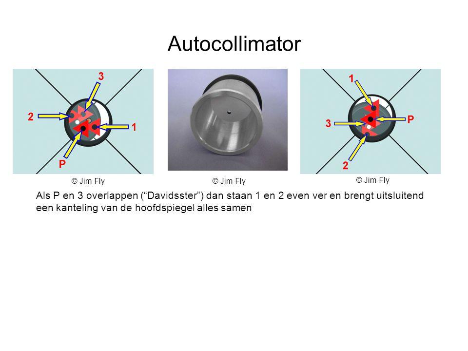 Autocollimator Als P en 3 overlappen ( Davidsster ) dan staan 1 en 2 even ver en brengt uitsluitend een kanteling van de hoofdspiegel alles samen © Jim Fly