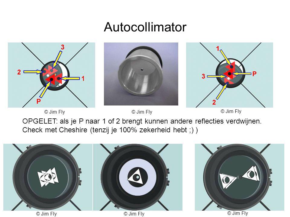Autocollimator OPGELET: als je P naar 1 of 2 brengt kunnen andere reflecties verdwijnen.