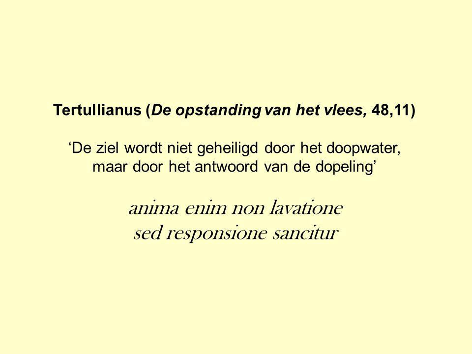 Tertullianus (De opstanding van het vlees, 48,11) 'De ziel wordt niet geheiligd door het doopwater, maar door het antwoord van de dopeling' anima enim