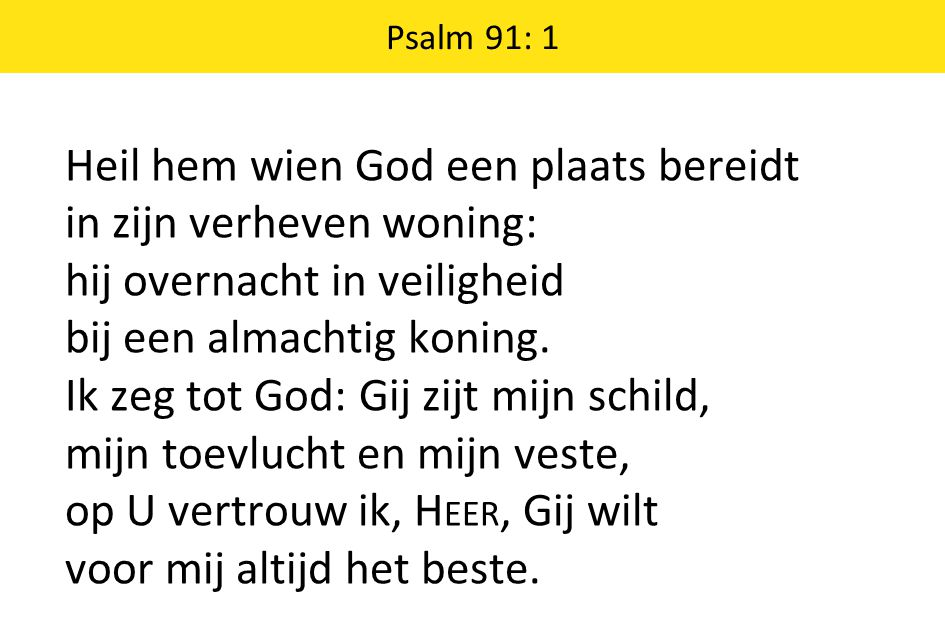 Psalm 91: 1 Heil hem wien God een plaats bereidt in zijn verheven woning: hij overnacht in veiligheid bij een almachtig koning.