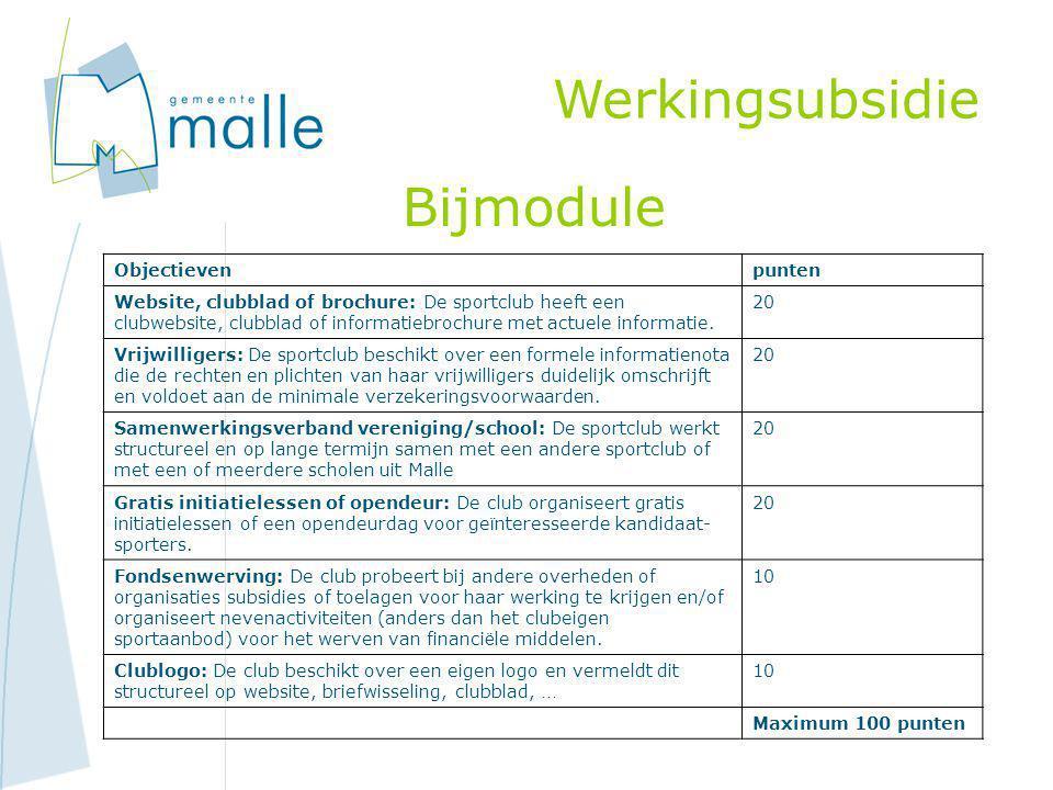Bijmodule Werkingsubsidie Objectievenpunten Website, clubblad of brochure: De sportclub heeft een clubwebsite, clubblad of informatiebrochure met actuele informatie.