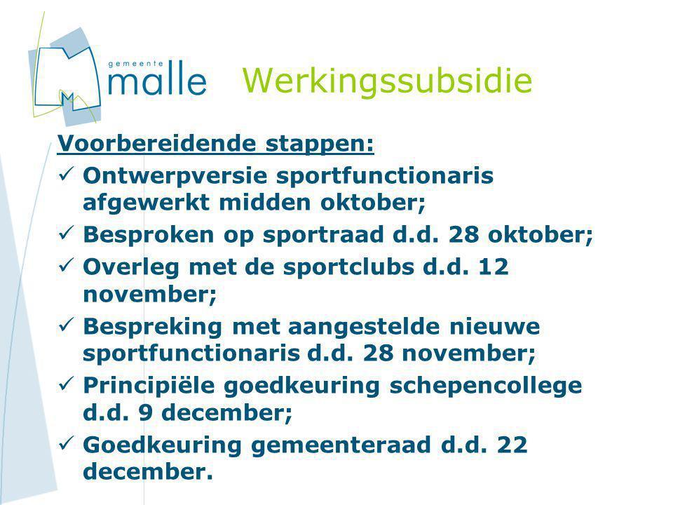 Werkingssubsidie Voorbereidende stappen:  Ontwerpversie sportfunctionaris afgewerkt midden oktober;  Besproken op sportraad d.d. 28 oktober;  Overl