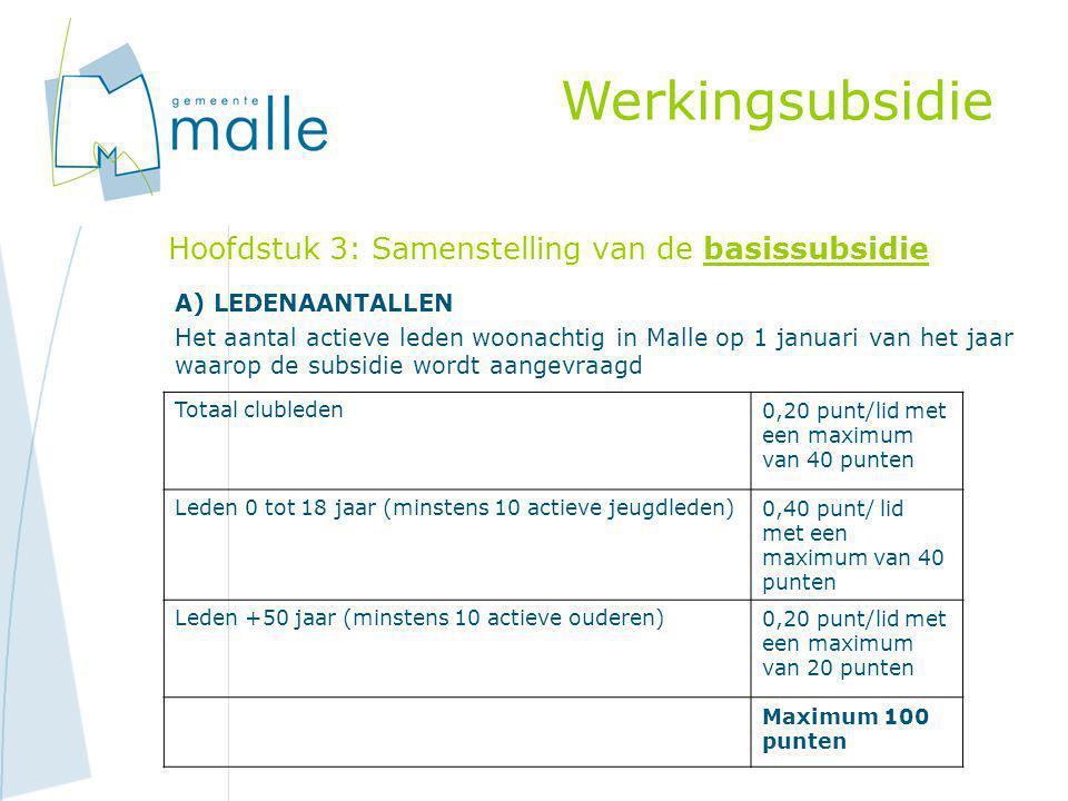 Hoofdstuk 3: Samenstelling van de basissubsidie A) LEDENAANTALLEN Het aantal actieve leden woonachtig in Malle op 1 januari van het jaar waarop de sub