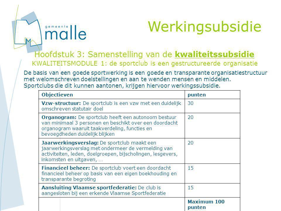 KWALITEITSMODULE 1: de sportclub is een gestructureerde organisatie Werkingsubsidie Hoofdstuk 3: Samenstelling van de kwaliteitssubsidie De basis van een goede sportwerking is een goede en transparante organisatiestructuur met welomschreven doelstellingen en aan te wenden mensen en middelen.