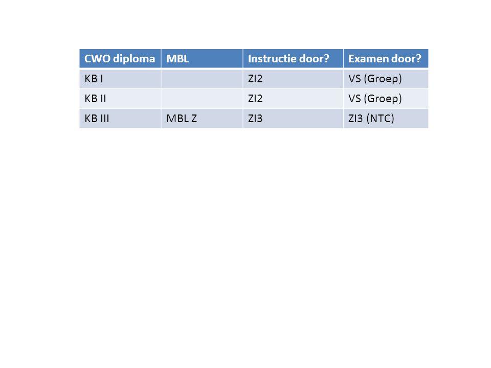 CWO diplomaBenodigdBeoordelaarInstructie gevenExamen afnemen I 2CWO IIII4 (NTC)CWO I, CWO IIVorderingsstaat I 3CWO IV, I 2I4 (NTC)CWO III I 4CWO IV+, I 3, KVB I Opleider (CWO) CWO IV, I 2, I 3PvB I 2, PvB I 3 I 4+I 4I 4+CWO IV OpleiderI 4+Opleiders- cursus(CWO) I 4+PvB I 4
