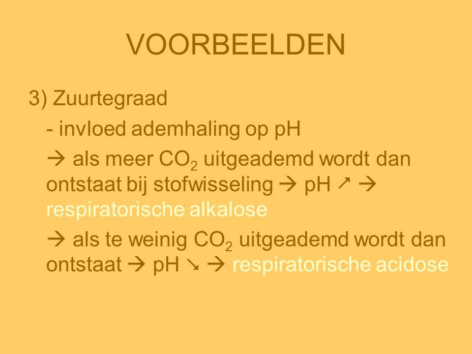 VOORBEELDEN 3) Zuurtegraad - invloed ademhaling op pH  als meer CO 2 uitgeademd wordt dan ontstaat bij stofwisseling  pH   respiratorische alkalos