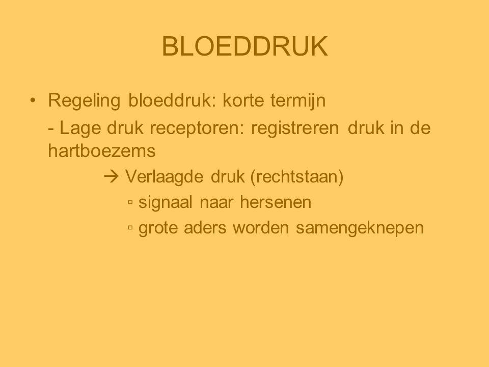 BLOEDDRUK •Regeling bloeddruk: korte termijn - Lage druk receptoren: registreren druk in de hartboezems  Verlaagde druk (rechtstaan) ▫ signaal naar h