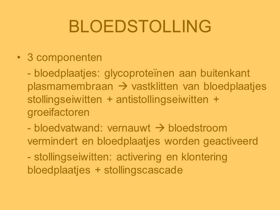 BLOEDSTOLLING •3 componenten - bloedplaatjes: glycoproteïnen aan buitenkant plasmamembraan  vastklitten van bloedplaatjes stollingseiwitten + antisto