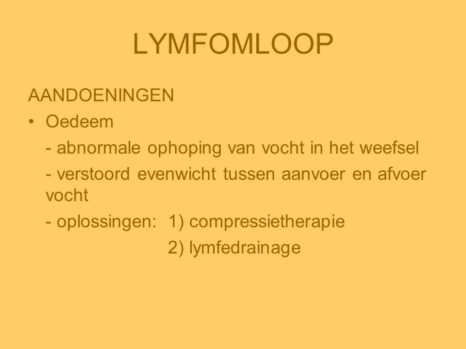 LYMFOMLOOP AANDOENINGEN •Oedeem - abnormale ophoping van vocht in het weefsel - verstoord evenwicht tussen aanvoer en afvoer vocht - oplossingen:1) co