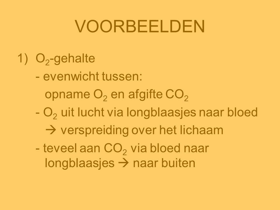 VOORBEELDEN 1)O 2 -gehalte - evenwicht tussen: opname O 2 en afgifte CO 2 - O 2 uit lucht via longblaasjes naar bloed  verspreiding over het lichaam