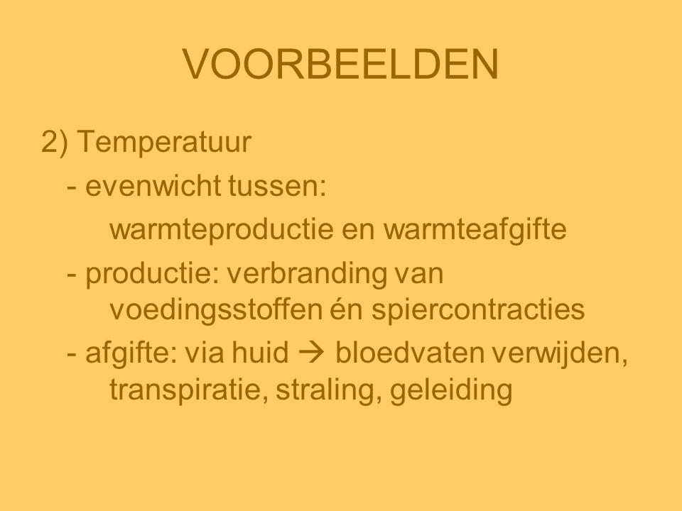 VOORBEELDEN 2) Temperatuur - evenwicht tussen: warmteproductie en warmteafgifte - productie: verbranding van voedingsstoffen én spiercontracties - afg