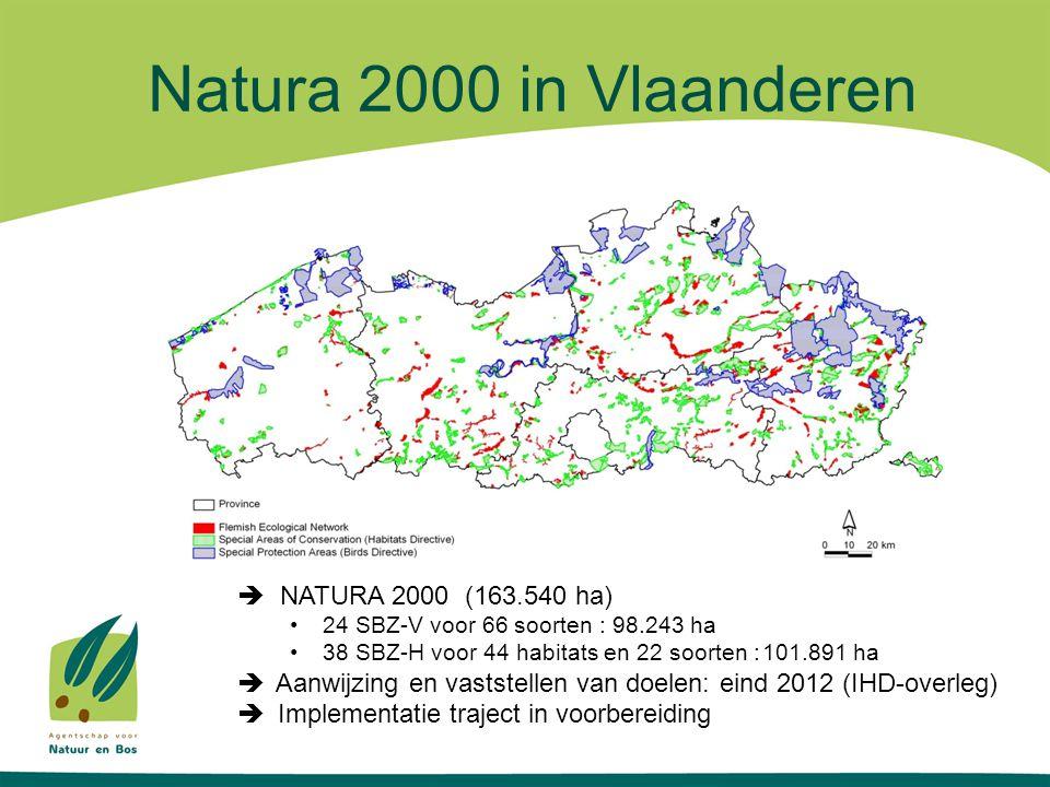 Natura 2000 in Vlaanderen  NATURA 2000 (163.540 ha) •24 SBZ-V voor 66 soorten : 98.243 ha •38 SBZ-H voor 44 habitats en 22 soorten :101.891 ha  Aanwijzing en vaststellen van doelen: eind 2012  Implementatie traject in voorbereiding Eigenaars betrokken