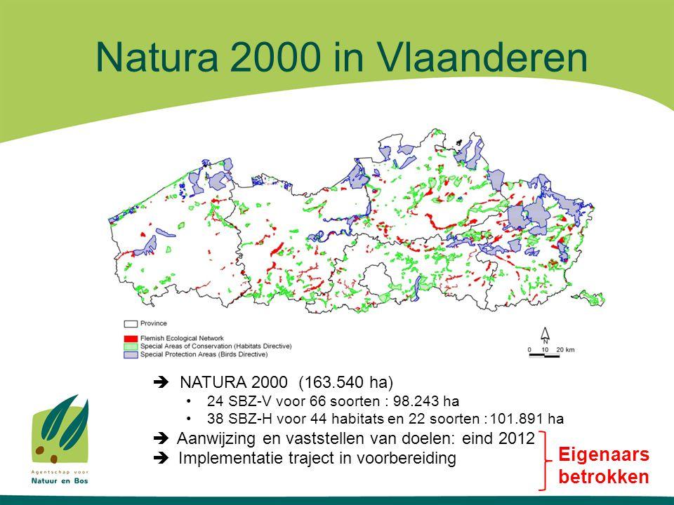 VIA doelstelling 'effectief natuurbeheer' Aandacht inspanningen particulieren beheerders Terrein (ha)200920102011 Vlaams natuurreservaat6.6586.680 Erkend natuurreservaat13.86213.92114.695 Bosreservaat2.7833.0013.012 Militair domein met natuurbeheer9.835 Domeinbos UBP9.79510.16412.057 Bossen derden UBP11.07013.72416.582 Vlaamse parken HPG123,6 Parken derden HPG12,628,4369,52 totaal54.139,257.47763.354,12