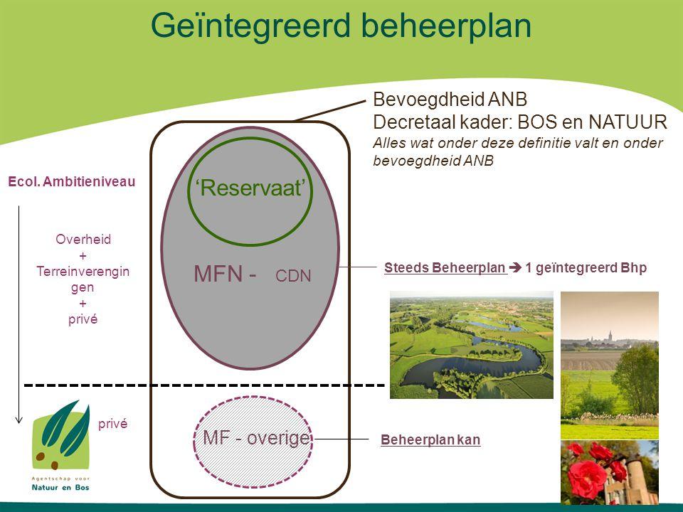 Geïntegreerd beheerplan Bevoegdheid ANB Decretaal kader: BOS en NATUUR Alles wat onder deze definitie valt en onder bevoegdheid ANB MFN - CDN 'Reserva