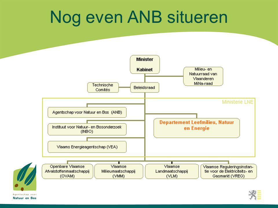 Ontstaan van het ANB •Ontstaan op 1 april 2006, als gevolg van Beter Bestuurlijk Beleid •Ontstaan uit een fusie van twee afdelingen van het voormalige AMINAL: afdeling Natuur en afdeling Bos & Groen