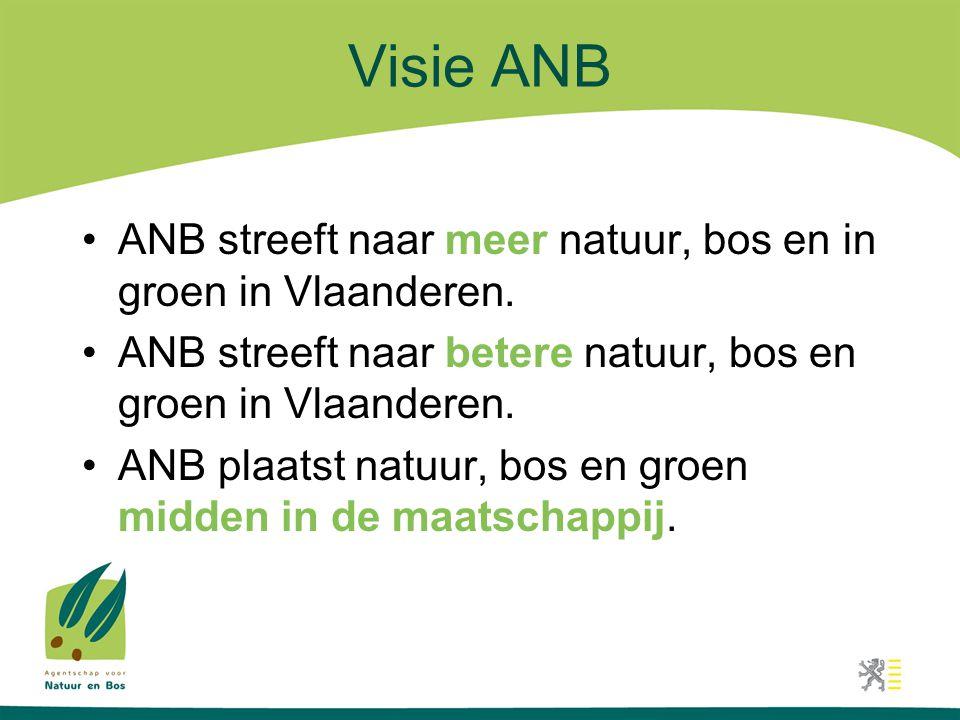 Visie ANB •ANB streeft naar meer natuur, bos en in groen in Vlaanderen. •ANB streeft naar betere natuur, bos en groen in Vlaanderen. •ANB plaatst natu