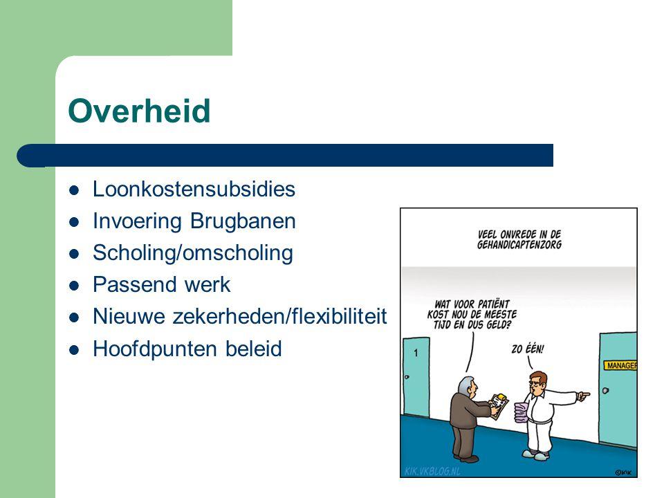 Overheid  Loonkostensubsidies  Invoering Brugbanen  Scholing/omscholing  Passend werk  Nieuwe zekerheden/flexibiliteit  Hoofdpunten beleid