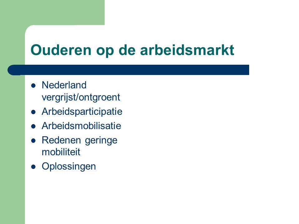 Ouderen op de arbeidsmarkt  Nederland vergrijst/ontgroent  Arbeidsparticipatie  Arbeidsmobilisatie  Redenen geringe mobiliteit  Oplossingen